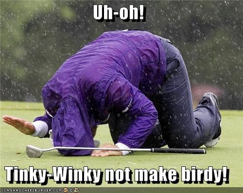 crying,golf,purple,sports,teletubbies,Tinky Winky,Up Next in Sports