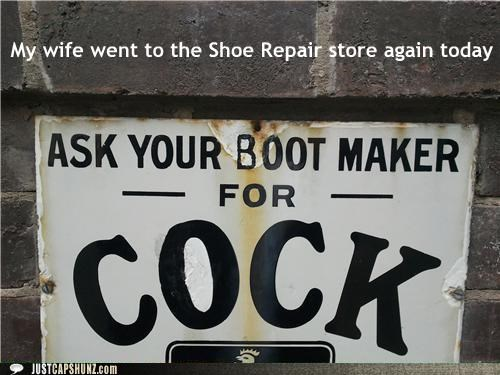cheating,marriage,p33n,sex,shoe repair,shoes,signs,wives,wtf
