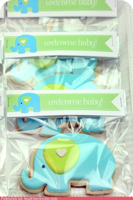 baby shower blue cookies elephants epicute green icing - 5170855680
