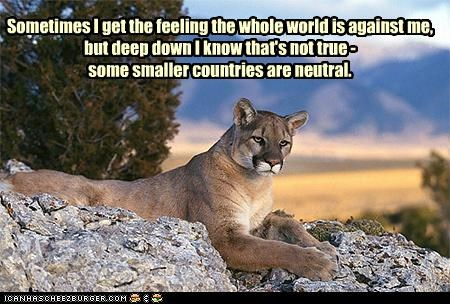 Sometimes I get the feeling the whole world is against me, but deep down I know that's not true - some smaller countries are neutral.