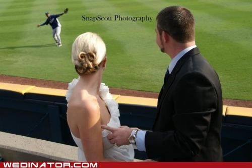 baseball,bride,funny wedding photos,groom,KISS