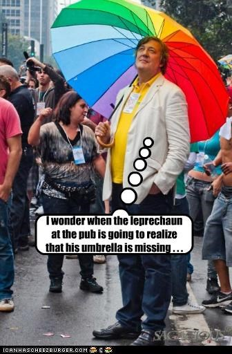 actors,comedians,leprechauns,rainbows,roflrazzi,Stephen Fry,umbrellas