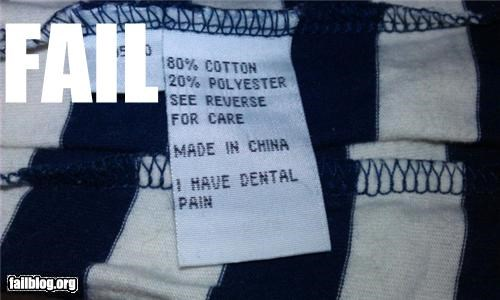 China clothes failboat g rated Professional At Work sweatshop tag