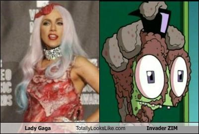 cartoons,cartoon character,lady gaga,meat,meat dress,pop singers,singers