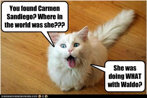 caption captioned Carmen San Diego cat found shocked show surprised television TV waldo - 5172604416