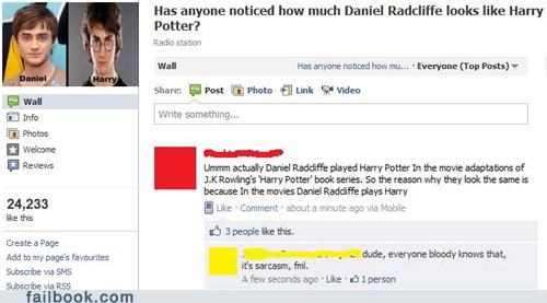 Daniel Radcliffe facepalm Harry Potter sarcasm - 5173271040