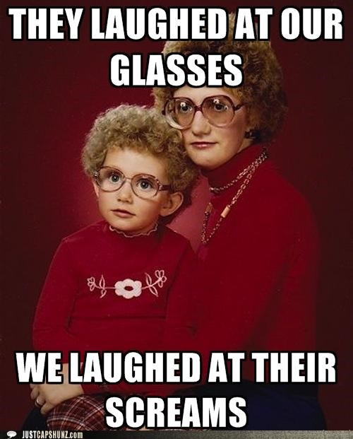 creepy family glasses kids moms murder portraits retro screams