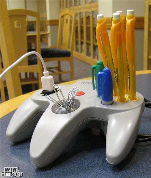 desk hacked modification nintendo nintendo 64 Office office supplies organization repurposed Videogames - 5174752512