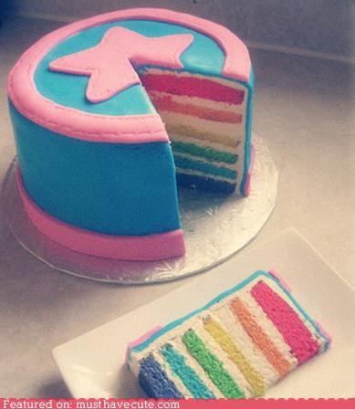 best of the week,cake,epicute,fondant,frosting,pink,rainbow,star,teal
