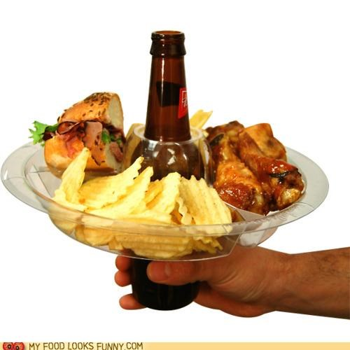 bbq beer holder hole Party plate