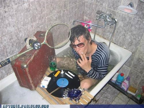 all in one,bathtub,drinking,flashlight,record,smoking,suitcase,sunglasses
