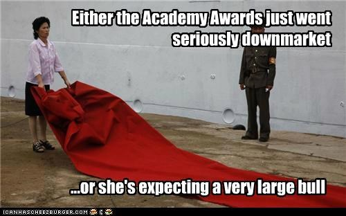 Either the Academy Awards just went seriously downmarket ...or she's expecting a very large bull