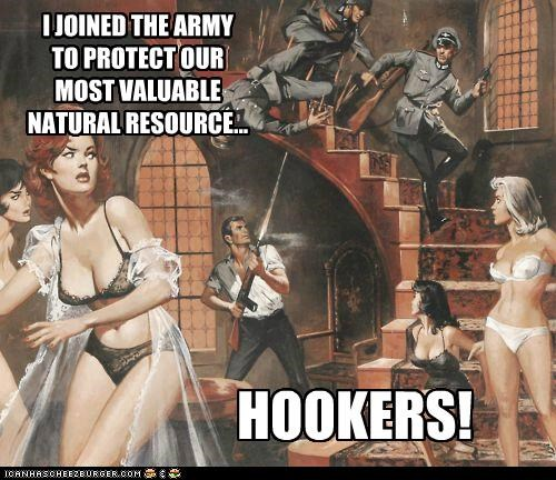 I JOINED THE ARMY TO PROTECT OUR MOST VALUABLE NATURAL RESOURCE... HOOKERS!