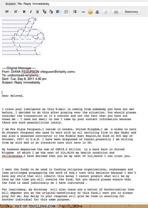ascii art email scam - 5176300544