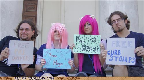 curb stomp Free Hugs IRL signs - 5176547840