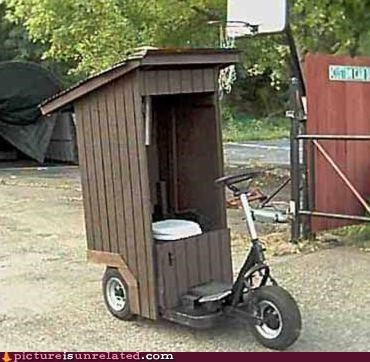 good idea,outhouse,scooter,wtf
