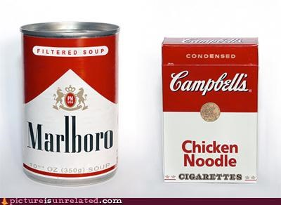 campbells,cigarettes,graphic design,marlboro,soup,wtf