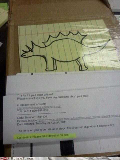 comments,delivery,dinosaur,drawing,packaging,request