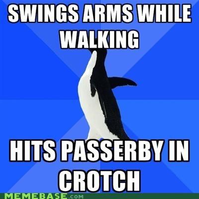 arm crotch hit passerby socially awkward penguin walking - 5177614336