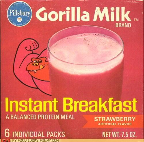 gorilla milk,instant breakfast,mix,pink,powder,strawberry