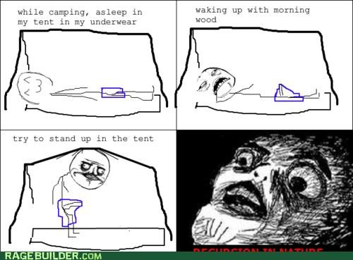 morning wood pitching a tent Rage Comics tent