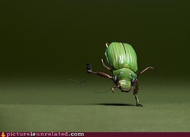 Breakdancing beetle with walkman