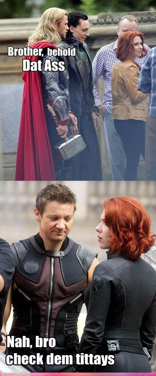 actor celeb chris hemsworth dat ass funny Jeremy renner Movie scarlett johannson The Avengers - 5178133504