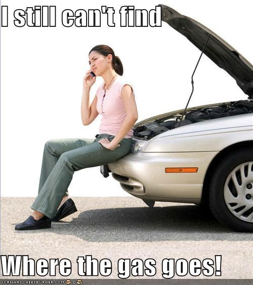 car,car maintenance,confused,fuel,gas,thinking is hard,woman
