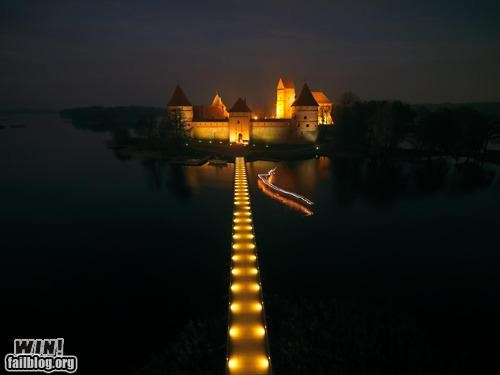 boat bridge castle Historical island light magical night photography