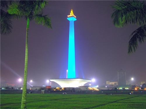 asia,blue,getaways,gold,indonesia,jakarta,national monument,night,night photography,southeast asia