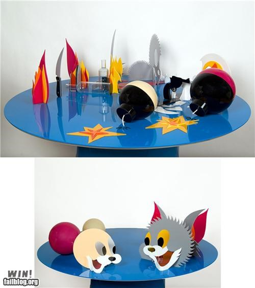 art,cartoons,clever,nostalgia,perspective,sculpture,Tom and Jerry