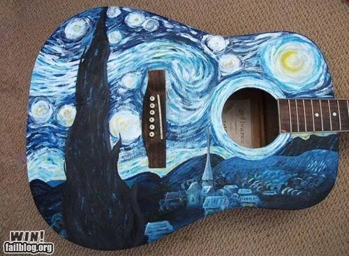 acoustic guitar,art,artwork,instrument,modification,Music,starry night,Van Gogh,van-goghs-starry-night