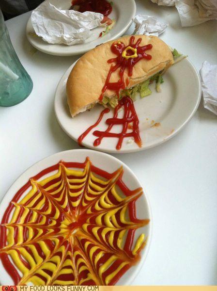 burger,escape,ketchup,mustard,spider,spider web