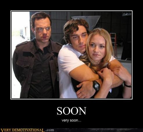 Poster of two people hugging and a third looking on with the caption SOON