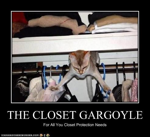 animals,Cats,closets,clothes,clothing,gargoyle,I Can Has Cheezburger,protection,scary,wtf