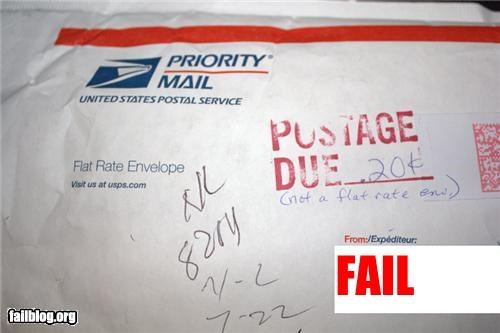 failboat,g rated,mail,stupidity,tax dollars at work,usps