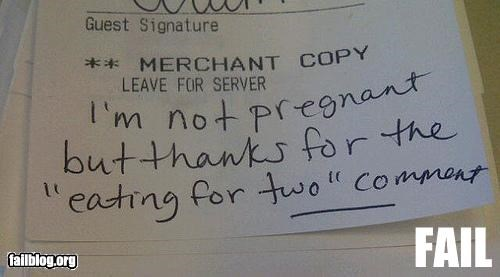 customer service,failboat,g rated,pregnant,restaurant
