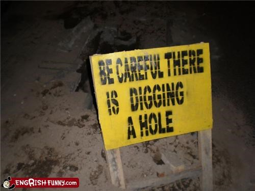 construction hole name sign warning
