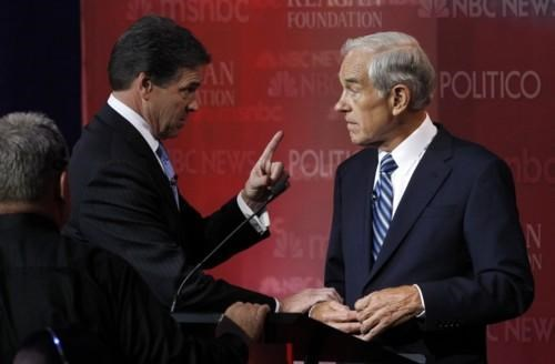 2012 Presidential Race,GOP Debate,Photo,Rick Perry,Ron Paul