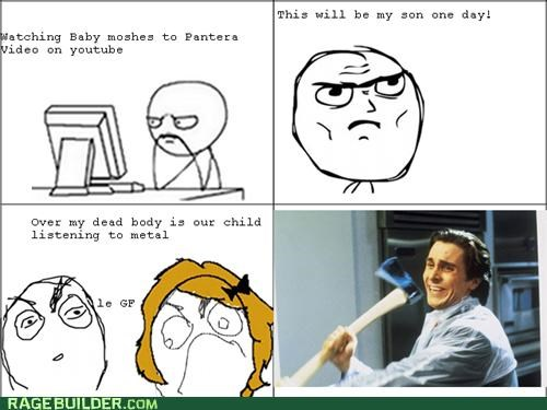awesome,baby,metal,parenting,Rage Comics