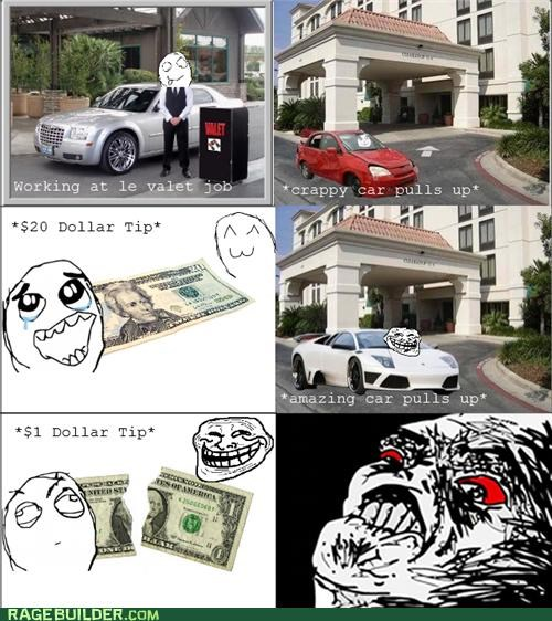 fancy car,Rage Comics,rude,tip,valet