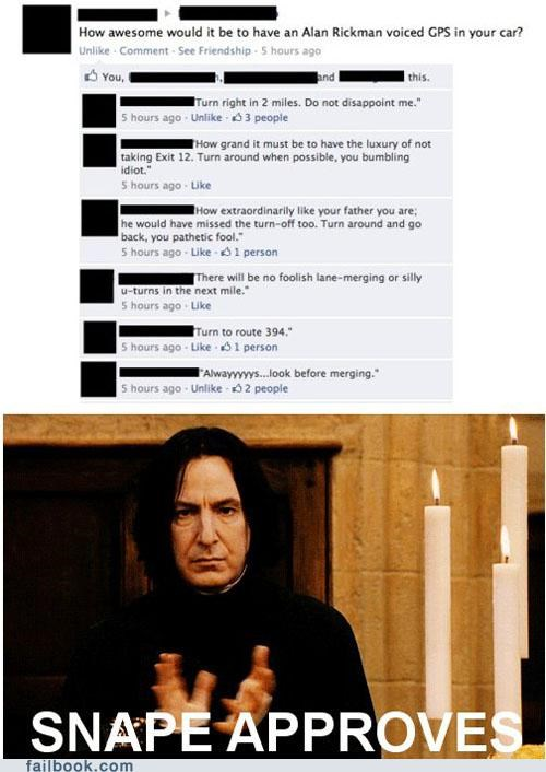 Funny facbook thread of an exchange on how an Alan Rickman GPS voice would be like.