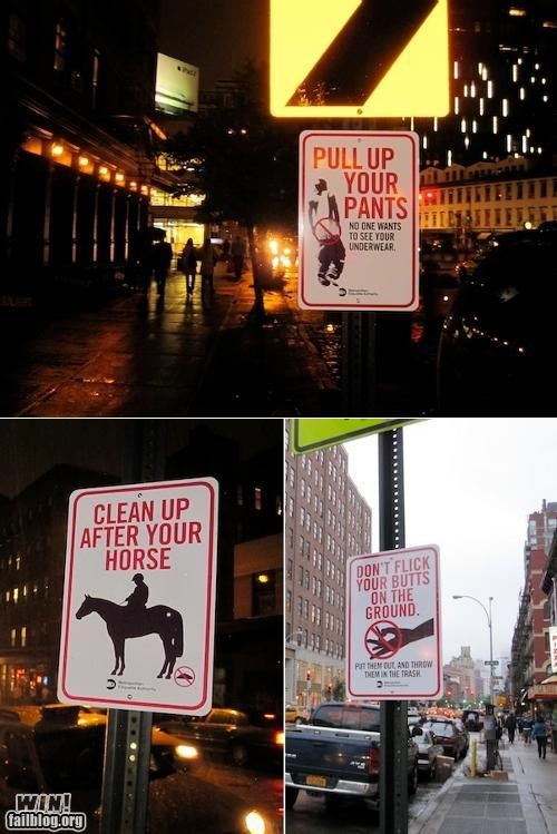 Brother Nature FTW city clean courtesy guerrilla hacked sign street warning - 5182125568