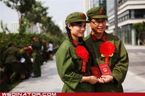 bride China communism funny wedding photos groom politics