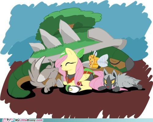 best of week,caring,crossover,fluttershy,in the tall grass,Pokémon,wildlife