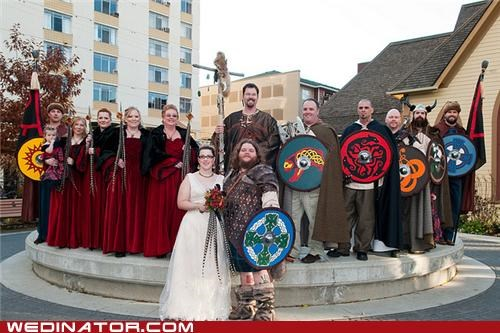 bride,funny wedding photos,groom,Hall of Fame,medieval,viking,wedding party