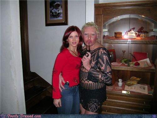 cross dressing,duckface,lace
