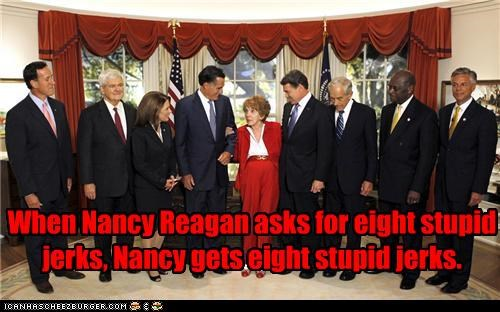 election 2012,GOP,michelle bachmann,Nancy Reagan,newt gingrich,political pictures,Rick Perry,Ron Paul