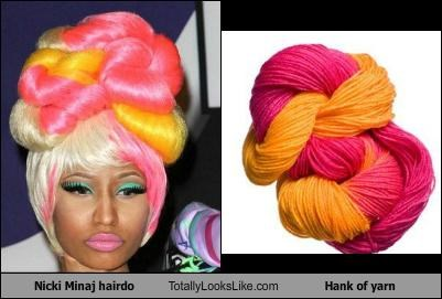 hair hairstyle hank of yarn nicki minaj pink yarn yellow
