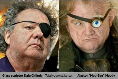 dale chihuly,eye patch,Harry Potter,mad eye moody,sculptor,sculpture,wrinkles